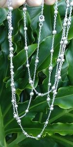 "Sterling 60"" classic long beaded chain necklace"